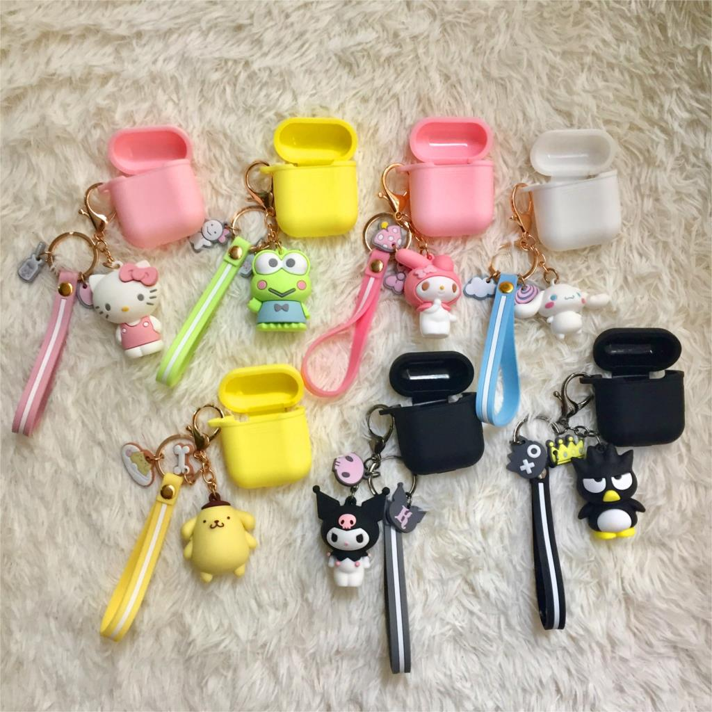 Cute Cartoon for airpods case Hello Kitty melody For iPhone earphone soft silicon bag Universal phone hook up strap, Wrist band