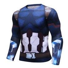 Avengers 3 Captain America 3D Print T Shirt Mens Compression Shirt 2018 Cosplay Costume Long Sleeve