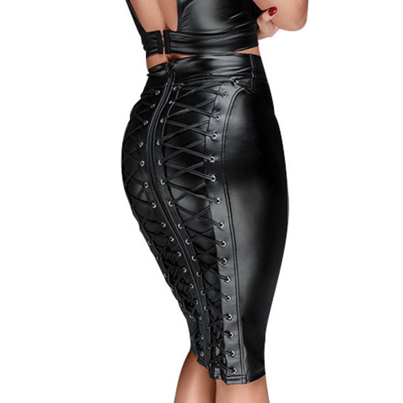 Sexy Women Lace Up Wetlook PU Leather Skirt Short Pencil Skirts Black Strappy Zipper Package Hip Skirt Vinyl Bondage Clubwear