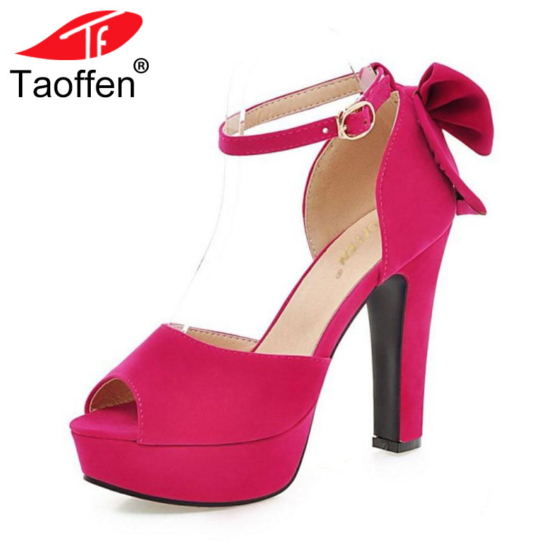 TAOFFEN women peep toe ankle strap sweet thick high heel sandals platform suede leather lady woman shoes plus size 31-47 PA00135 qplyxco 2017 big small size 32 46 peep toe ankle strap thick high heel sandals platform ladies shoes women sandal 2095 page 3