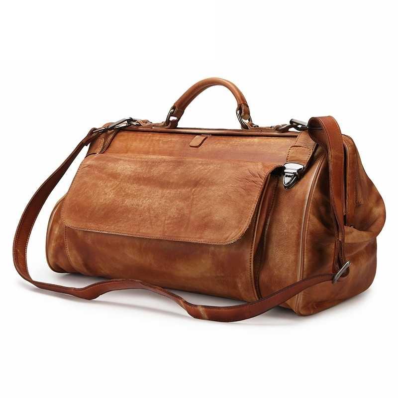 Мужская винтажная дорожная сумка Crazy Horse из натуральной кожи, большая дорожная спортивная сумка, сумка из коровьей кожи для переноски багажа, большая сумка на плечо для выходных