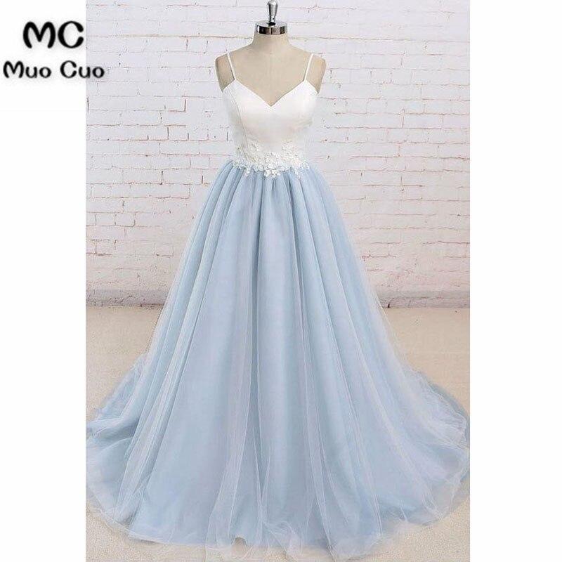 2018 a-ligne robes de bal avec Appliques paghetti sangles doux 16 robe de soirée longue Tulle formelle robe de soirée pour les femmes
