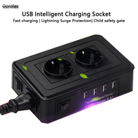 Portable 2 EU Power Socket Outlet 4 USB Adapter Wall Charger Dock 5V 2 4A Surge