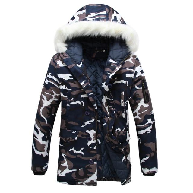 Homens Jaqueta de Camuflagem de inverno 2016 de Espessura Com Capuz Para Baixo Casacos Longos Casacos de Algodão Acolchoado dos homens Com Capuz De Pele