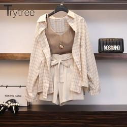 Trytree Spring Summer Women Three piece sets Casual Linen Plaid Tops  Shorts Elastic Waist Wide Leg Pants Suit Set 3 Piece Set