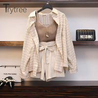 Trytree Summer Women Three piece sets Casual Linen Plaid Tops + Shorts Elastic Waist Belt Wide Leg Pants Suit Set 3 Piece Set