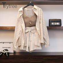 Trytree ฤดูใบไม้ผลิฤดูร้อนผู้หญิงสามชิ้นชุดลำลองผ้าลินินลายสก๊อตเสื้อ + กางเกงขาสั้นขากว้างเอวกางเกงชุดชุด 3 ชิ้น