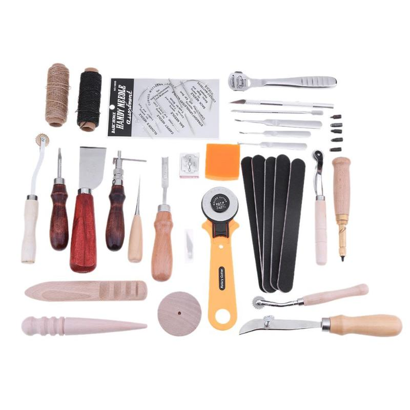 37pcs DIY Leather Craft Hand Sewing Stitching Punch Tools Carving Set Kit thoughtful kit
