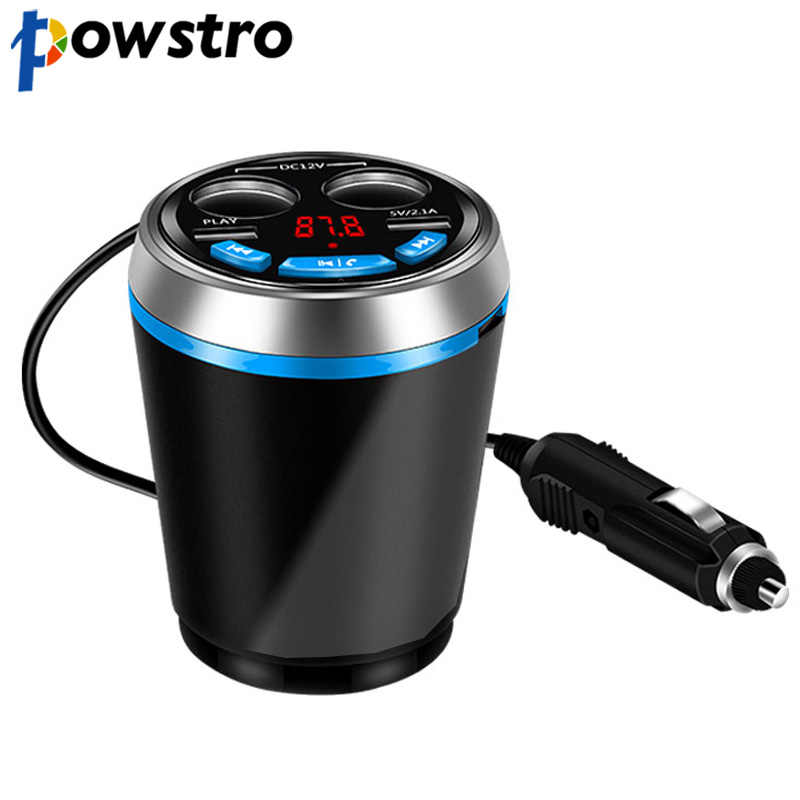Powstro Dual USB Charger Car Cup Charger Adapter Support U Disk Reading Hands-free Call 12-24V Multifunction Car Cup Holder Kit