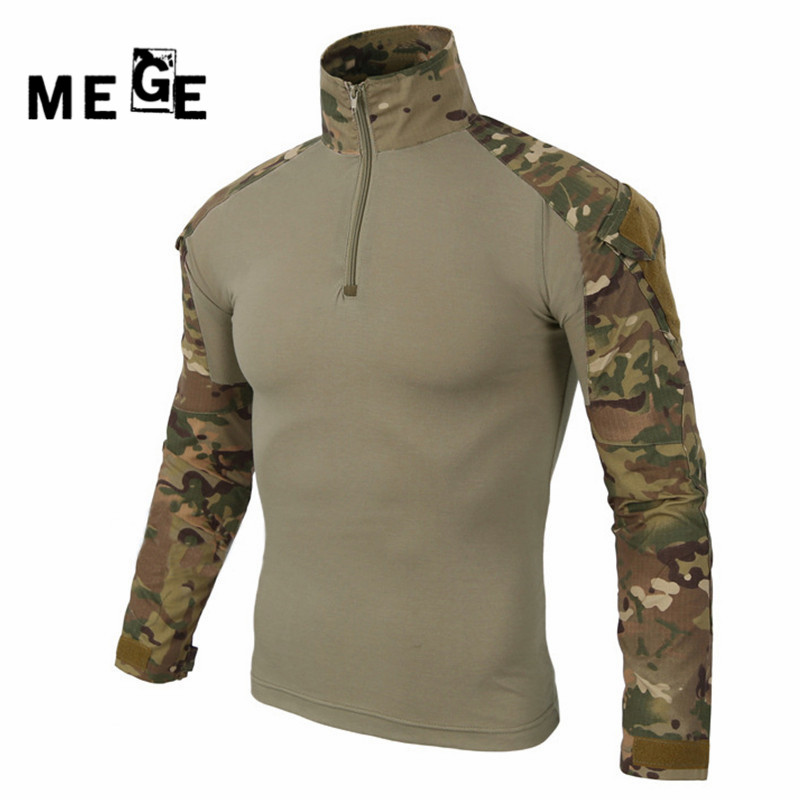 ФОТО MEGE Military multicam army combat shirt uniform tactical shirt with elbow pads camouflage hunting clothes ghillie suit top
