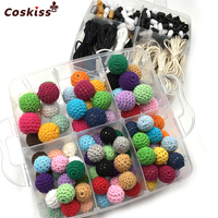 2 Box Blending Mixed Colour Breakaway Safety Clasp Crochet Wooden Beads For Baby Necklace Accessories DIY Baby Teether Toys Set