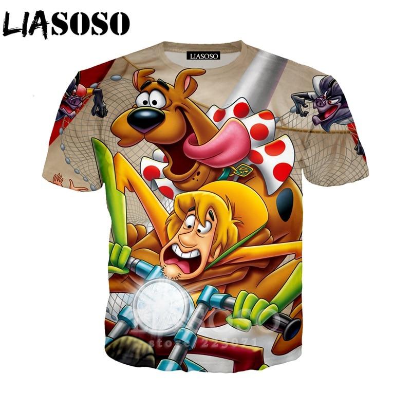 LIASOSO 2019 Summer New Men Women 3D Print Cartoon Anime Scooby Doo   T     Shirt   Fashion Short Sleeve Sweatshirt Top Pullover B014