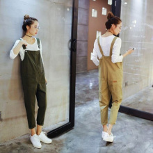 2017 Fashion high quality Maternity bib pants spring and autumn thin one piece loose plus size fashion spring trousers