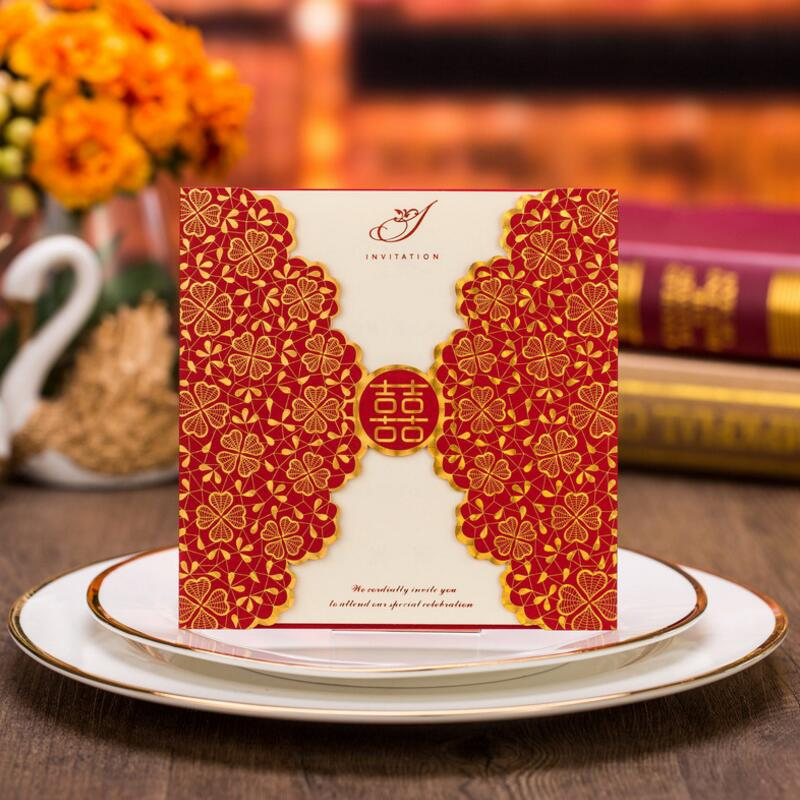 50pcs/pack Romantic Wedding Party Event Invitation Card Red Golden Cards with Envelope Delicate Carved Pattern 1 design laser cut white elegant pattern west cowboy style vintage wedding invitations card kit blank paper printing invitation