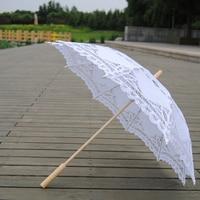 White Vintage Lace Umbrella Bridal Parasol Umbrella with Long handle Wedding Favors Bridal Wedding Photo Props Shower Decoration