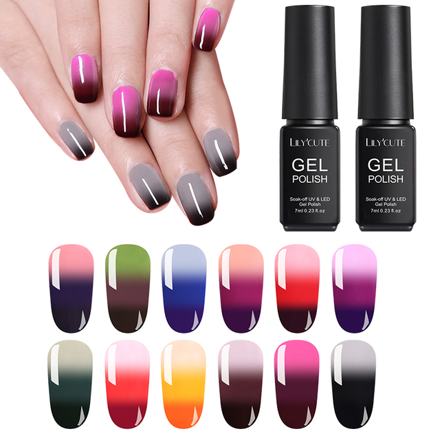 LILYCUTE 7ml Colorful Temperature Color Changing UV Gel
