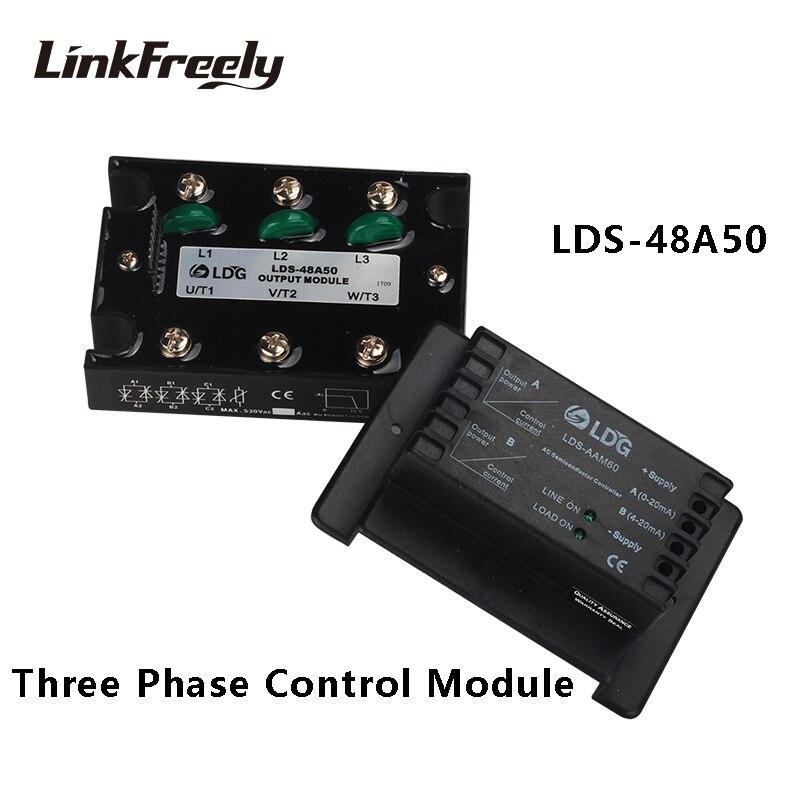 Relais à semi-conducteurs de LDS-48A50 SSR 50A 480VAC contrôleurs de moteur à démarrage progressif relais de tension de Module de contrôle de puissance analogique à 3 phases