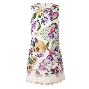 Image 4 - AELESEEN 2019 Summer New Fashion Vintage Style Dresses Women Luxury Beading Lace Spliced Sleeveless European Print Mini Dress