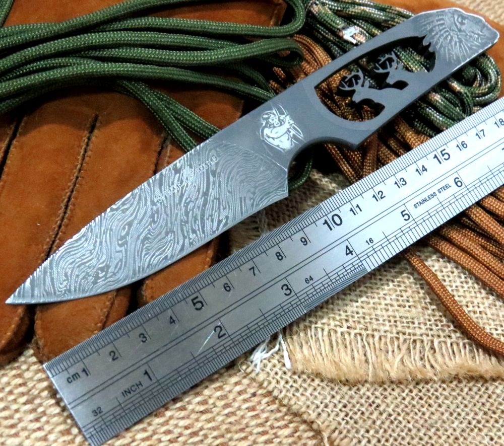 Delicate Straight font b Knives b font Indian Double Deer Head Integrated Keel Cow Leather font