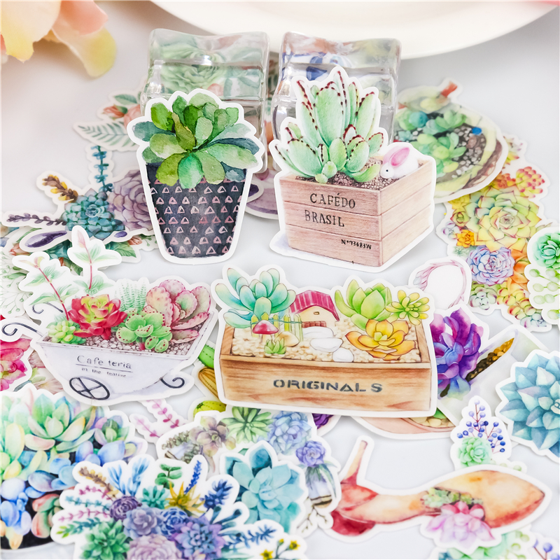 32Pcs/Sell Succulent Plants Stationery Stickers Pack Post It Kawaii Planner  Diy Scrapbooking Memo Stickers  School Supplies