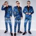 Quente 2017 novo macho DJ boate cantores convidados para a direita até o mesmo parágrafo leopard Blazers Mens ternos azul-verde trajes Vestido