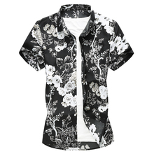 Floral Printed Men Shirts 2019 Summer Short Sleeve Casual Fashion Flowers Hawaiian Cotton Shirts Slim Fit Big Size 7XL