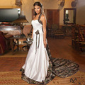 2016 New Design Country Style Camo Wedding Dresses Halter Sleeveless Court Train A Line Bridal Gowns Custom Made Robe De Mariage