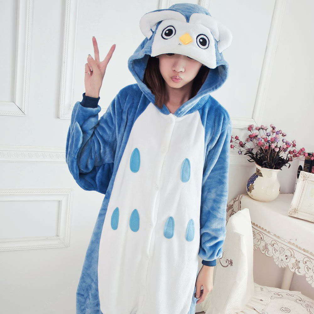 Animal Cosplay Owl Costume Cosplay Onesie Pajamas Overalls Unisex Flannel Pajama Suit for Adults Women Men Carnival Fancy Dress