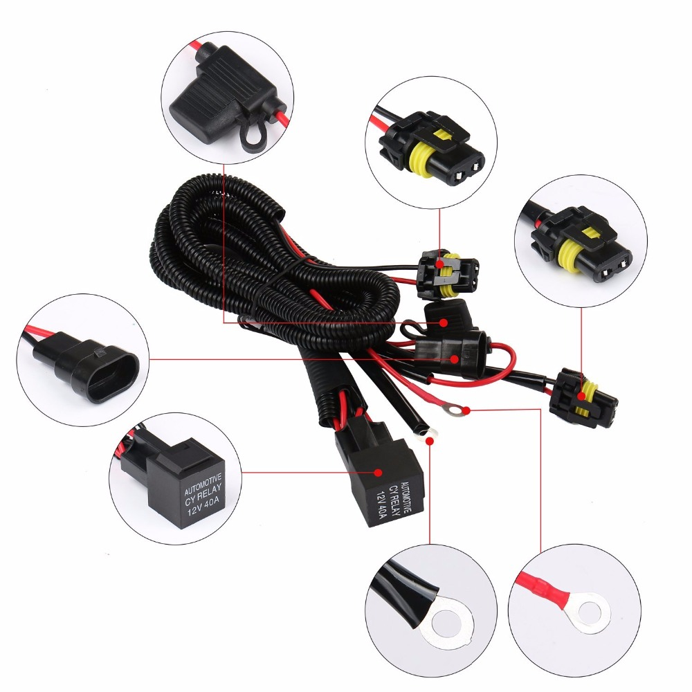 Car Hid Xenon Wire Harness 35 55w 9005 9006 Hb3 Hb4 Relay Wiring Kit Motorcycle 12v Headlight In From Automobiles Motorcycles On