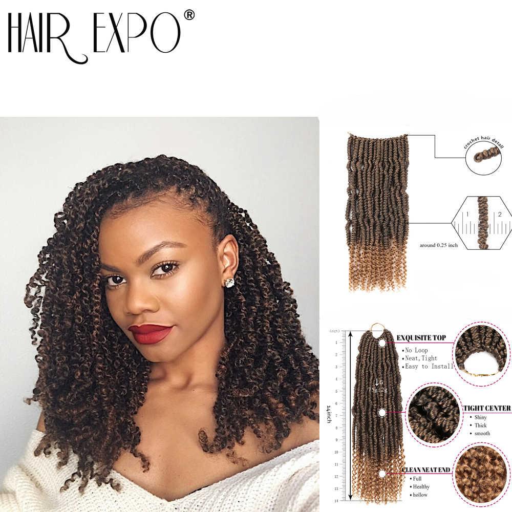 Pelo Expo ciudad bomba giro trenza sintética a crochet extensión del pelo Ombre primavera giro rizado Afro las mujeres