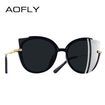 Aofly Merek Desain Fashion Wanita Terpolarisasi Kacamata Wanita Unik Bingkai Mata Kucing Berjemur Kacamata Gafas UV400 A106