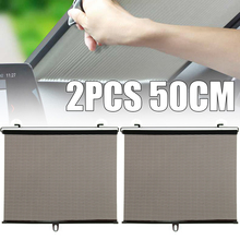 2Pcs 50CM Foldable Car Sun Shade Window SunShade Drape Visor Valance Curtain Windshield Sunshade Roller