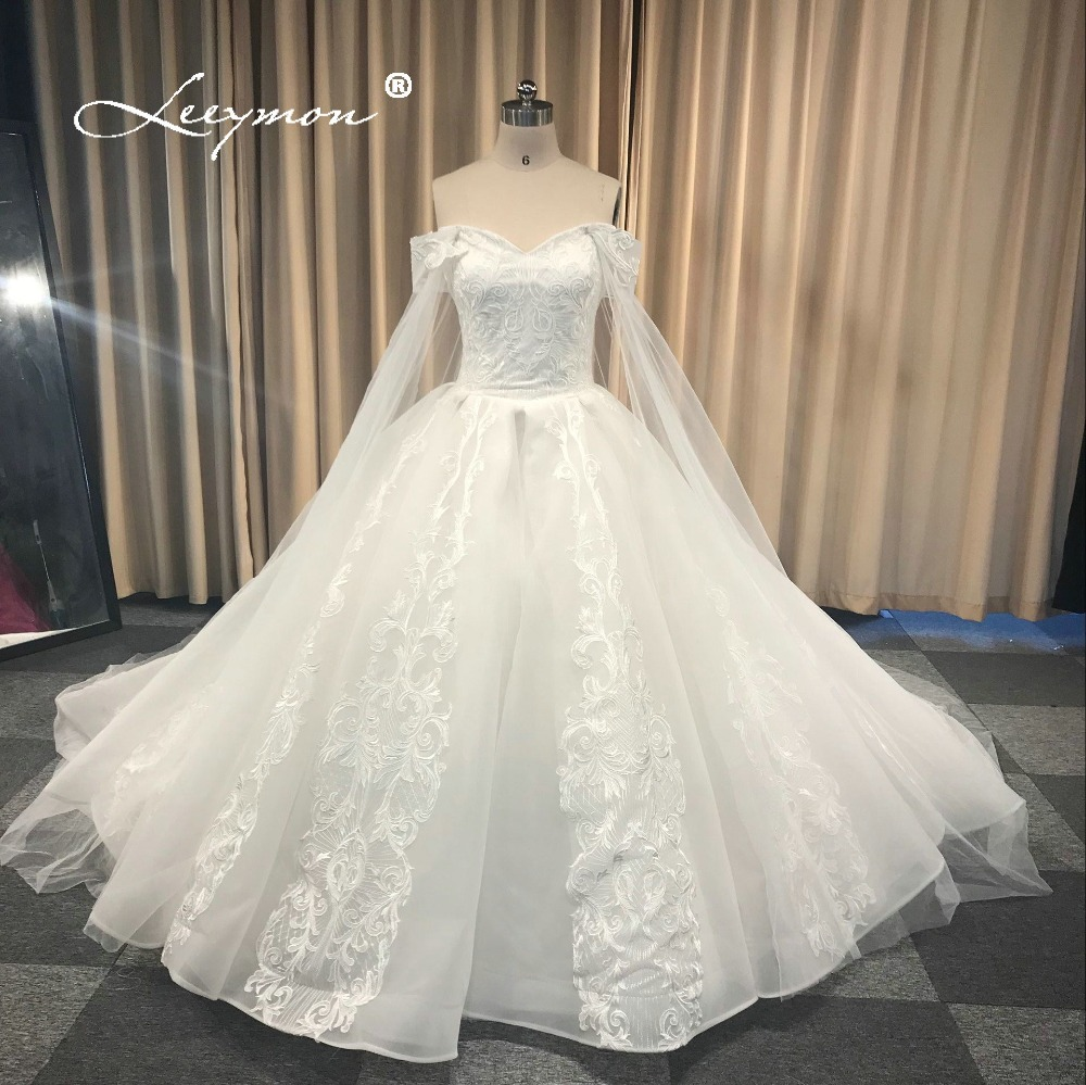 Leeymon Custom Made 2018 Free Shipping Wedding Dress Elegant Cap Sleeves  Lace Flower Ball Gown Wedding Dress Real Pictures 7c52a2f5c2be