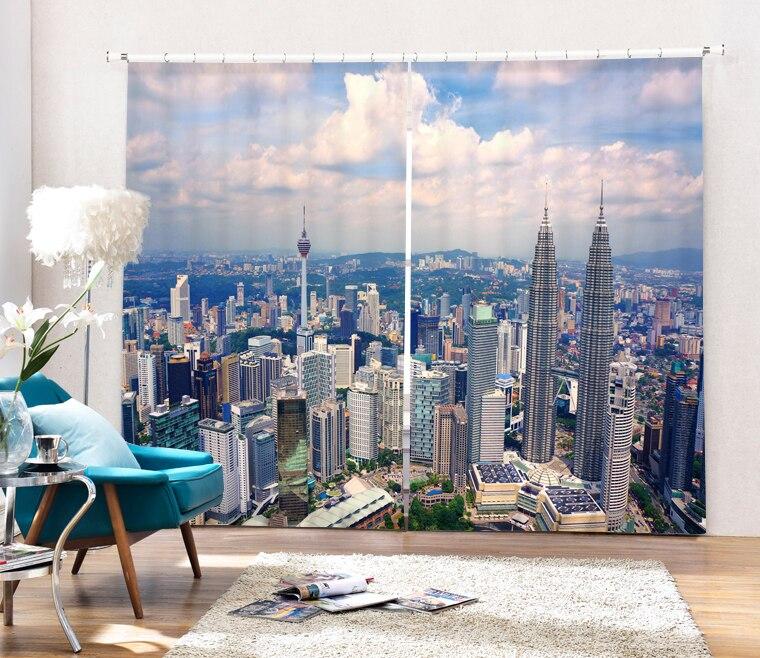 Architecture de ville paysage 3D peinture rideaux occultants bureau literie salle salon parasol fenêtre taille sur mesure