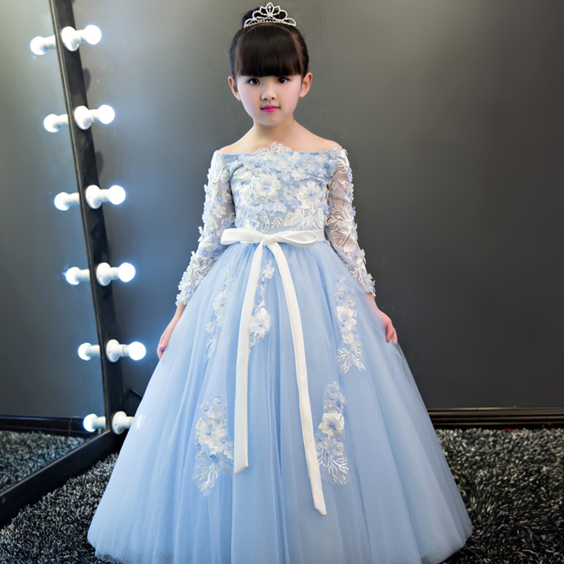 Luxury Long Lace Embroidery Embroidery Kids Dress For Girls 2017 Sweet Princess Prom Party Flower Girls Dress For Wedding P69 girls embroidery detail contrast lace hem dress
