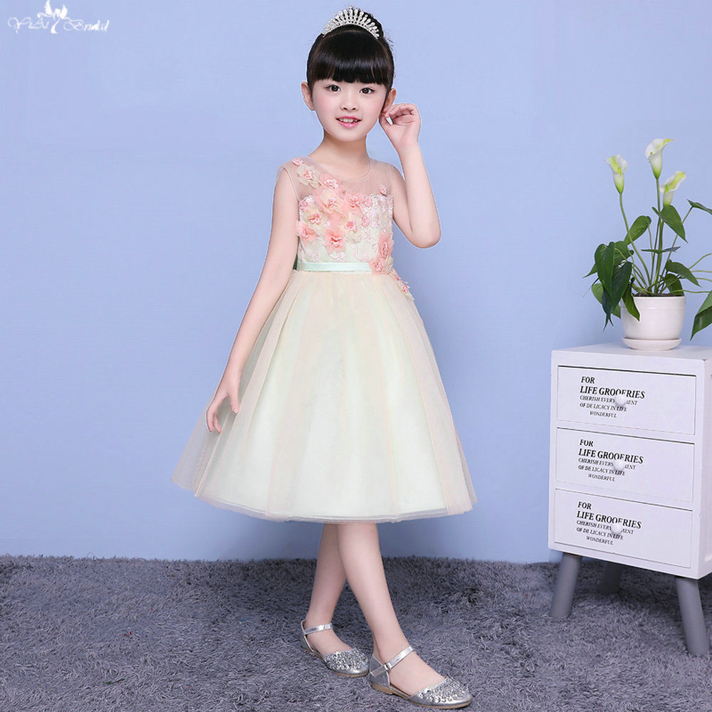 LZC012 Illuaion Bow Ball Gowns Girls Flower Girl Dresses Vestido De Daminha