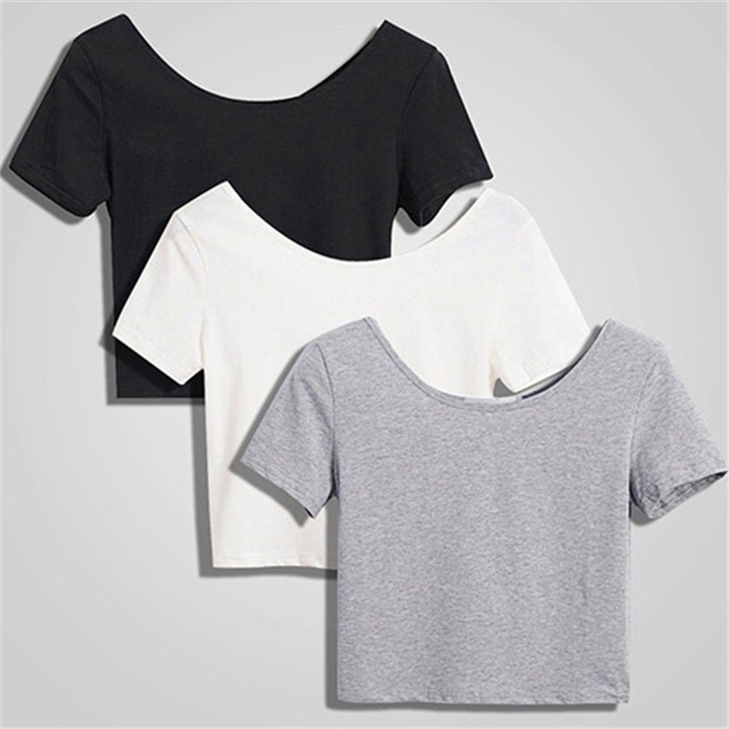 CDJLFH 2019 Summer Women Fashion Crop Top Shirt Solid Color O-Neck Short Sleeve T-shirt Women Casual Tees NZ503T1