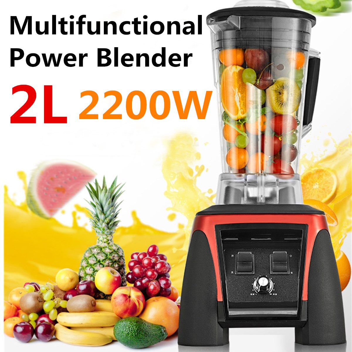 BPA Free 3HP 2200W Heavy Commercial Grade Fruit for Blender Mixer Juicer High Power Food Processor Ice Smoothie Bar 2L