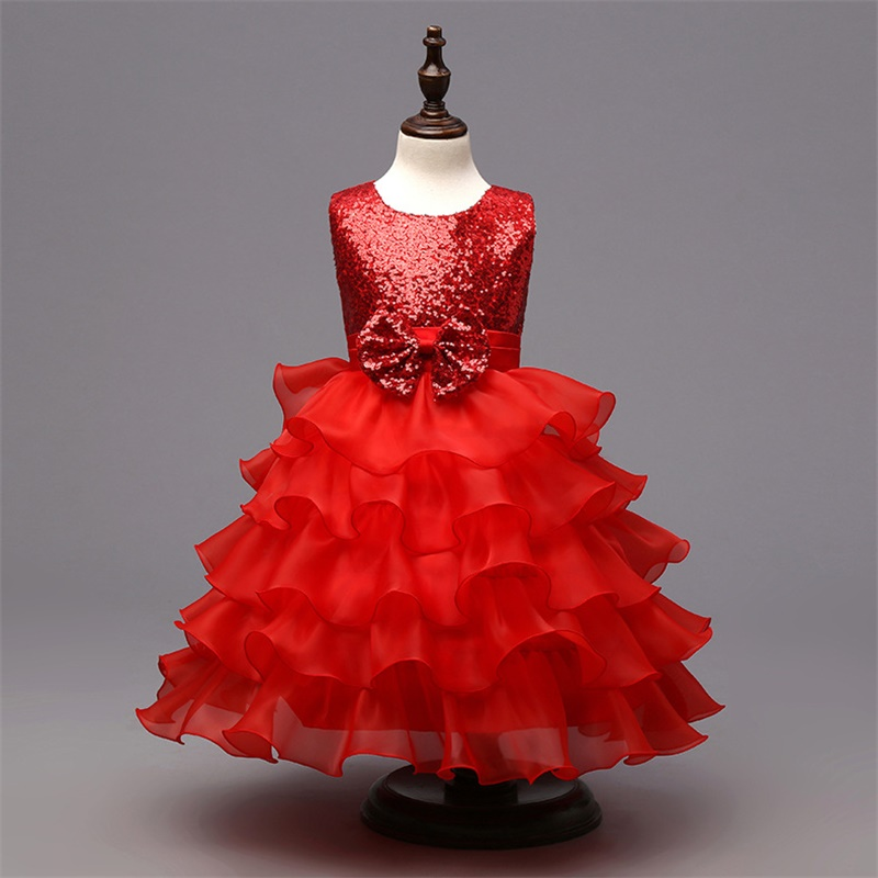 New Flower Girl Dresses for Wedding Princess Little Girls Kids/Child Dress with Bow Party Pageant First Communion Dress