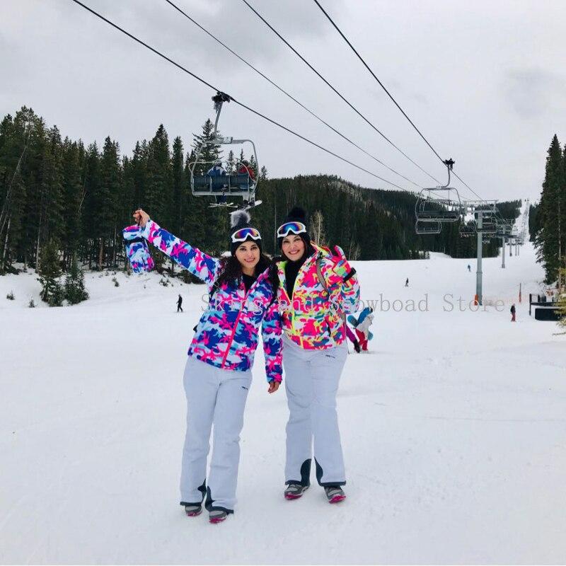 -30 pas cher camouflage hiver neige vêtements femmes Ski snowboard costume ensemble coupe-vent imperméable extérieur Ski vestes + bisb pantalon