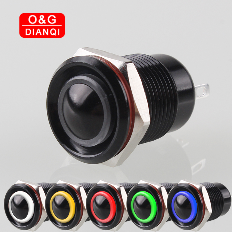 12mm Black Metal Waterproof Button Switch Self locking/Momentary Push Button Switch 12v Green Blue Red Ring Led Light Switch 1pcs yt976b 16 mm metal push button switch self locking latch switch with led lights 220v free shipping