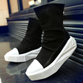2017 fashion Y3 High Top Men Height Increasing Platform BootsCasual Lace-up Zip Shoe Black Mixed White Male Footwear Boots