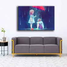 Wall Artwork Cartoon Painting 1 Piece Abstract Girl And Boy Sad Love Picture Modern Home Decor Bedroom High Quality Canvas Print