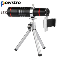 Wholesale Powstro Universal 18X Zoom Telescope Phone Camera Lens with Tripod Clip For iPhone 7 8 Samsung S7 S8 HTC Sony Mobile Phones Lens