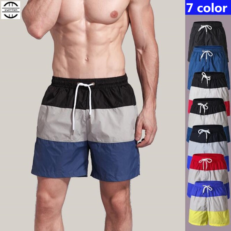 200pcs Men Exercise Fitness Casual Shorts Quick-dry Wicking Ultra-thin Loose Color Matching Board Beach Shorts Summer Sweatpants