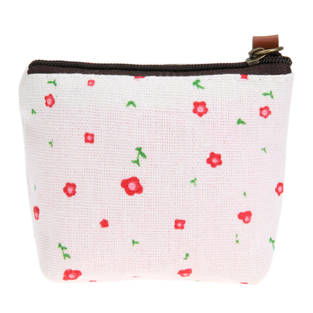 Women Pastoral Money Bag Canvas Small Coin Purse Floral Key Holder Wallet Mini Wallet Holder Zip Coin small Bags for women 2018 wallet