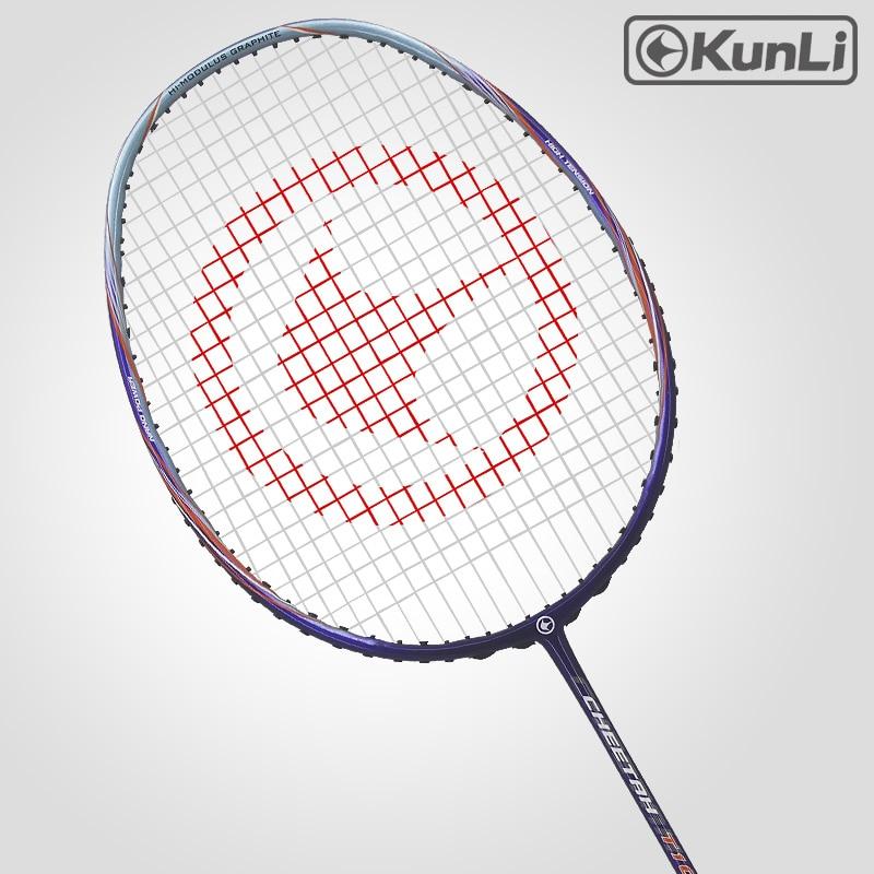 original KUNLI officiell badmintonracket 4u 82g cheetah T10 full carbon professionell Ultra ljus maxhastighet för Doubles spelare
