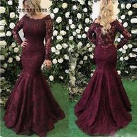 Элегантные бордовые Выпускные платья русалки с длинными рукавами, с вырезом лодочкой, кружево, с аппликацией, женские вечерние платья, хала