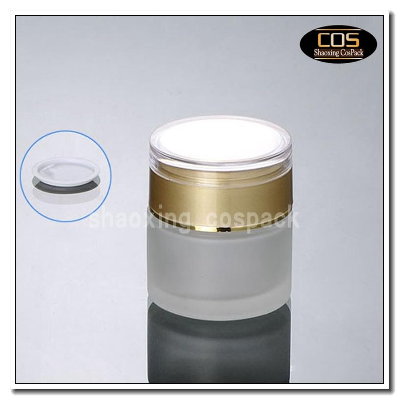 50 teile/los milchglas behälter 50 ml, leere gesichts creme glas mit gold deckel, 50 ml glas kosmetische jar