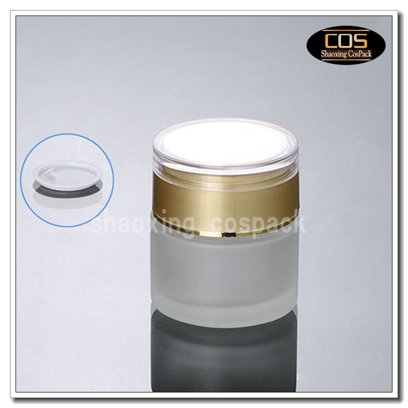 50pcslot frosted glass container 50ml empty facial cream glass jar with gold lid - Wholesale Glass Jars